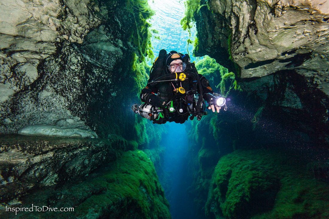 A rebreather diver moves through The Chasm in the Piccaninnie Ponds Conservation Park