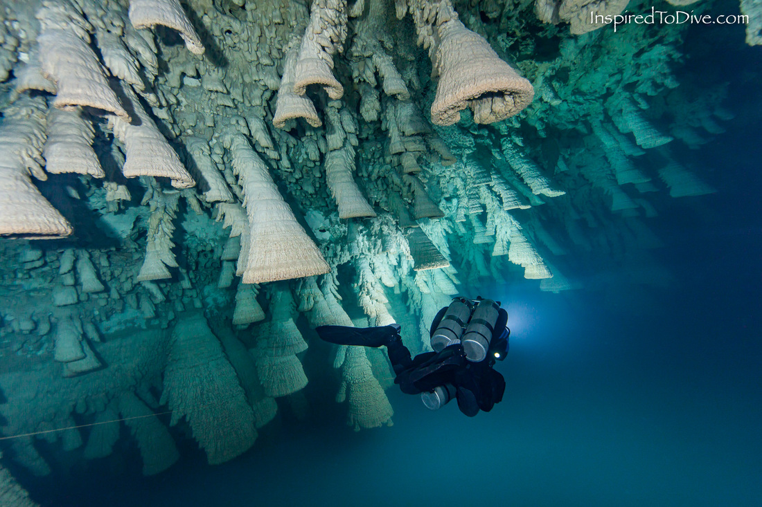 Cave diver with Hell's Bells formations in Cenote Zapote in Mexico
