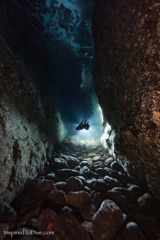 Scuba diver in Long Cave or Matt's Crack at the Poor Knights Islands in New Zealand