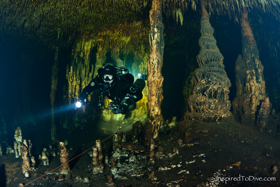 Cave diving in Cenote Naharon in Sistema Ox Bel Ha in the Riviera Maya