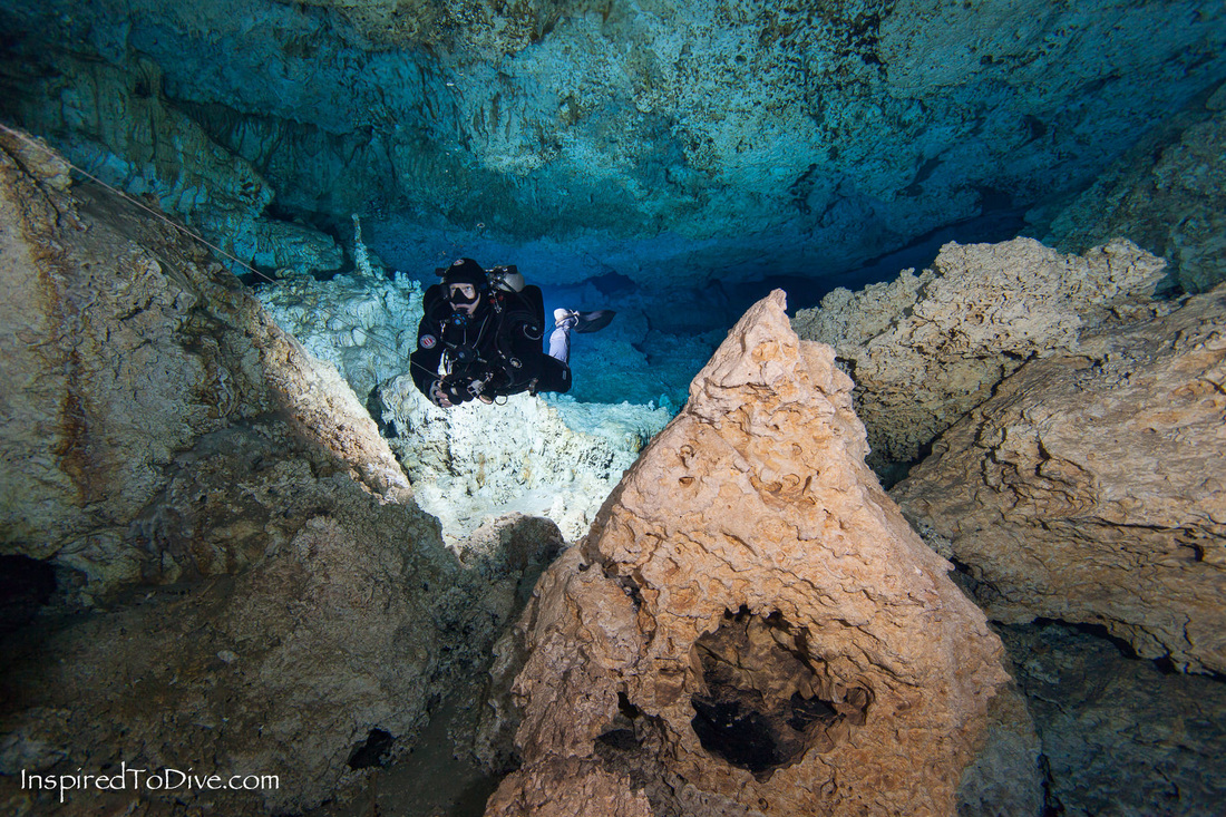 Cave diver in Chamber of the Ancients in Cenote Car Wash in Mexico