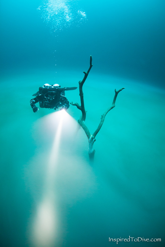 Scuba diver over layer of hydrogen sulfide in Cenote Angelita near Tulum