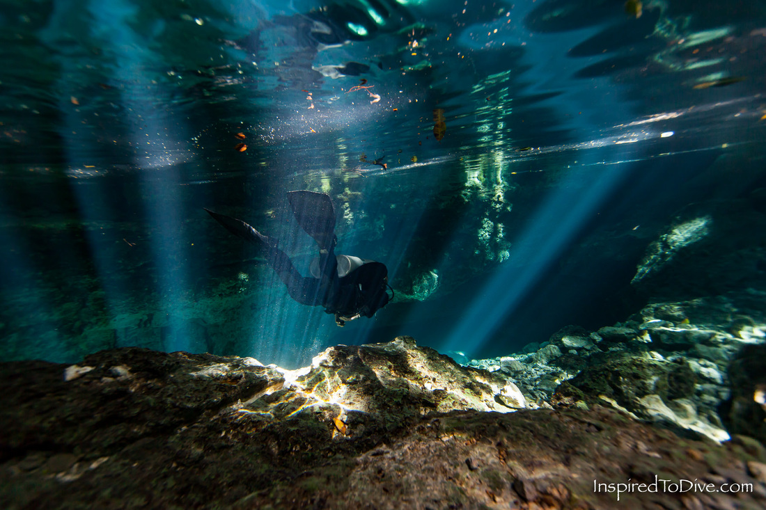 Cave diver Alison Perkins in the entrance of Cenote Taj Mahal in Mexico