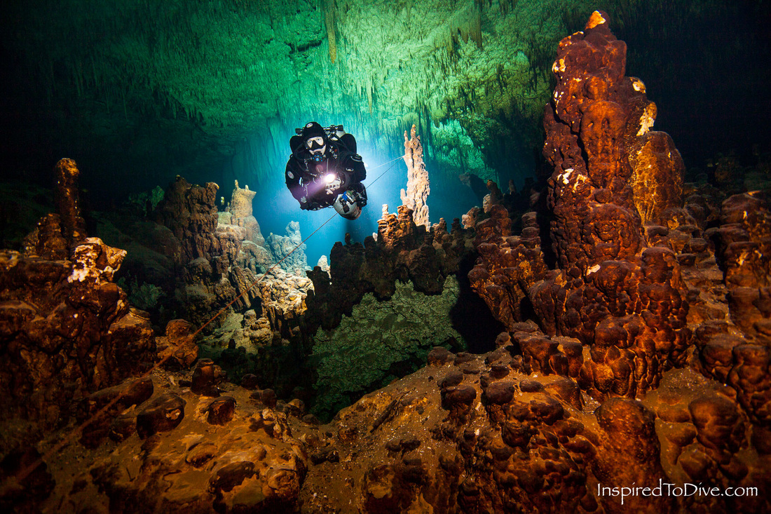 Cave diver in the fresh water passage of Cenote Jailhouse