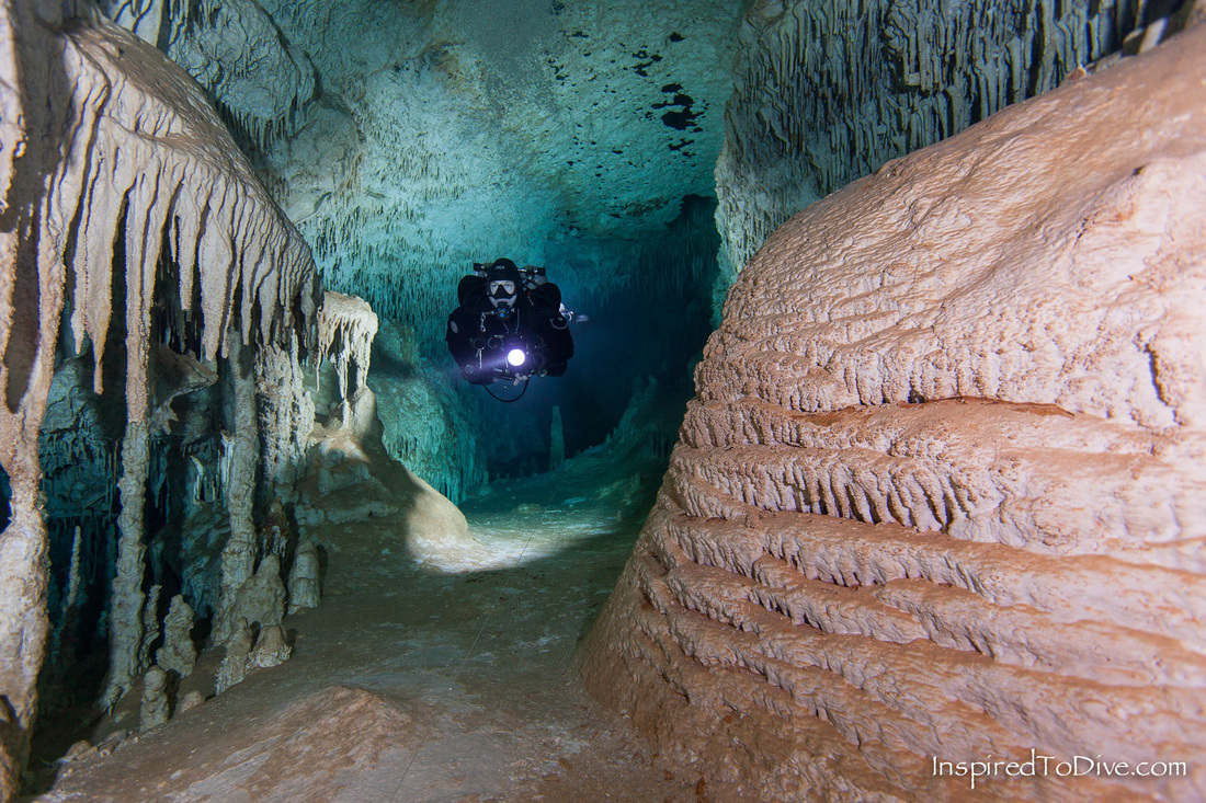 Cave diver in cave Sac Actun in Mexico