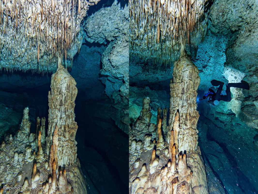 Cave comparison, with a cave diving model and without